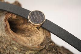 Armband, schwarzes Leder, 12mm, Intarsie, schwarze Eiche