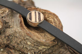 """Armband, schwarzes Leder, 12mm, Intarsie, """"Zebrano"""""""
