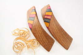 Haarspange / Paar / klein + haarfreundlich/ 56mm / Intarsie  / Ulme + bunte Furniere