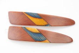 Haarspange / Paar / haarfreundlich/ 56mm / Intarsie  / Zeder + bunte Furniere
