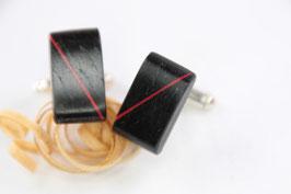 Manschettenknöpfe/ hochwertige Brisur / Intarsie / Mooreiche mit roter Einlage