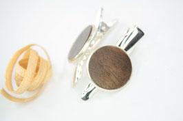 Seitenspange , mini Haarspange , Krokodilklammer / Paar / haarfreundlich/ 45mm / 16mm  / Walnuss