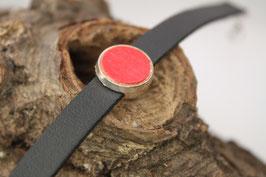 Armband, schwarzes Leder, 12mm, Ahorn rot