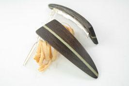 Haarspange / Paar / haarfreundlich/ 56mm / Intarsie  / Mooreiche + buntes Furnier