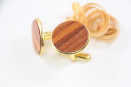 Manschettenknöpfe / 20mm / vergoldet / Intarsienarbeit / Apfel