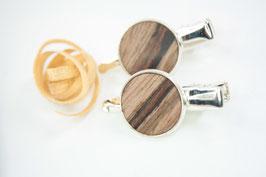 Seitenspange , mini Haarspange , Krokodilklammer / Paar / haarfreundlich/ 45mm / 16mm / Intarsie / Walnuss