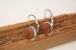 Ohrringe, 10mm, Paar, Edelstahl, Apfelholz