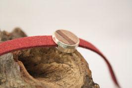 Armband, Filz, rot, 12mm, Intarsie, Walnuß