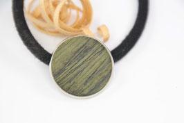Zopfhaarspange / Haargummi / rund 20mm / Intarsie / federleicht /  grün