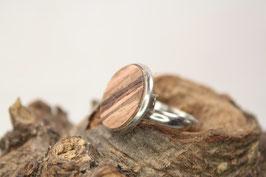 Ring, verstellbar, Intarsie, 16mm, Edelstahl, Walnuß