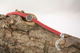 Armband, Filz, rot, 12mm, Intarsie, schwarze Eiche