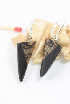 Ohrringe, Paar, Vollholzintarsie, marmorierte Buche