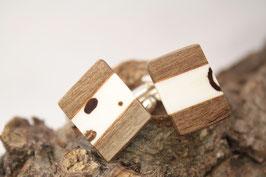 Manschettenknöpfe/ hochwertige Brisur / Intarsie / Kaffeebohnen mit Walnuß