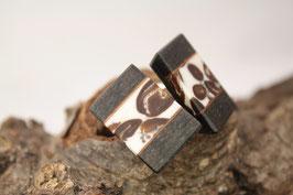 Manschettenknöpfe/ hochwertige Brisur / Intarsie / Kaffeebohnen mit Mooreiche