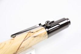 Kugelschreiber / hochwertig / dunkel verchromt / Repetiermechanik / marorierte Birke
