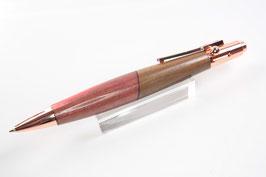 Kugelschreiber / hochwertig / rosegold / Repetiermechanik / Walnuss + Intarsie