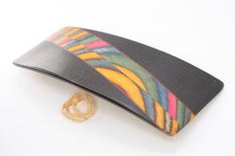Haarspange / 95mm / Intarsienarbeit aus bunten Buchenfurnieren + Mooreiche