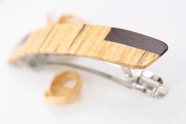 Haarspange / 95mm / Intarsienarbeit marmorierter Buche und Bongossi