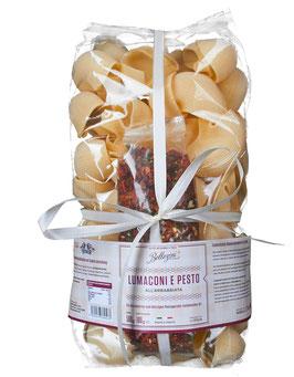 Lumaconi e Pesto all' Arrabbiata, 500 g Nudel-Tüte + 35g Gewürzmischung
