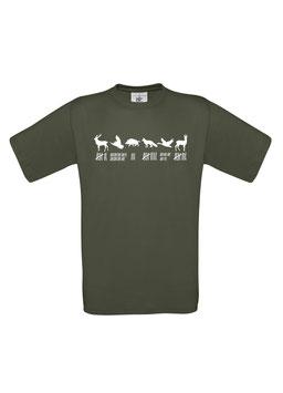 "Damen T-Shirt ""Waidmannsheil-Strichliste"", jagdgrün"
