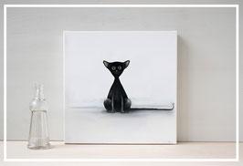 Original Ölbild Katze Blacky