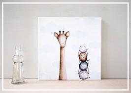 Original Ölbild Die Giraffe und ihre Katzen