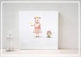 """Original Ölbild Schwein """"Ich die Prinzessin"""""""