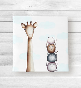 Kunstdruck auf Leinwand - Die Giraffe und Ihre Freunde
