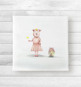 """Kunstdruck auf Leinwand -  Schwein """"Ich, die Prinzessin"""""""