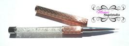 Nailart Pinsel  'Gold-Rose Metallic' mit dursichtigen Glitzersteinen im Stiel