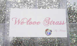 >We love Strass-Steinebox<  11.520 funkelnde flache toll geschliffenden verschiedene größen clear & irisierende Strass-Steine in einer Box incl. Picker