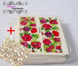 XXXL Blumen-Wraps -Set1- Päckchen incl. 50 funkelnden Strasssteinen