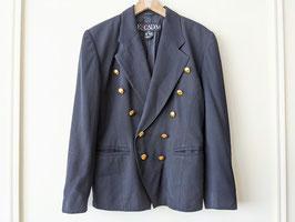 Escada Blazer 100% Wolle 80s Marine Dunkelblau Goldene Knöpfe Designer Jacke (S-M)