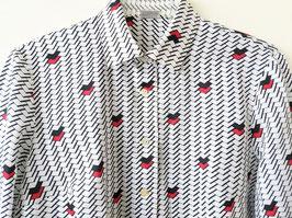 Bluse Grafische Prints 80s Rot Zacken Muster Heavin (L-XL)