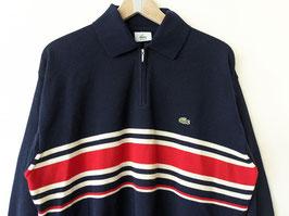 *Lacoste* Pullover 100% Wolle Half-Zip Streifen Strickmuster Dunkelblau (L)