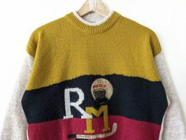 Pullover Hockey Stickerei R M Wolle Senfgelb Dunkelrot (M-L)