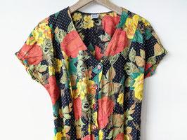 Kleid Astor Blumen Muster Pünktchen Print 80s Hippie Boho (XL)