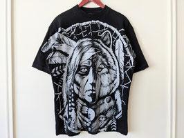 T-Shirt 90s Print Wolfs Kopf Indianer Schmuck Fransen Federn Traumfänger Shirt (M-L)
