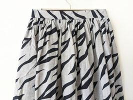 Rock Zebra Streifen Animal Print Highwaisted Midi 80s Grau Schwarz (XS-S)