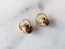 Gold Creole Braun Bilderjaspis Marmor Upcycling Vintage Naturstein