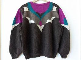 Pullover 80s *Handmade* Strickmuster Ausschnitt Pink Türkis (M-L)