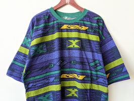 T-Shirt Azteken Muster Grüner Kragen Lila Blau Crazy Pattern Ethno Neu (L-XL)