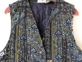 Weste Feincord Paisley BLumen Muster Khaki (L-XL)