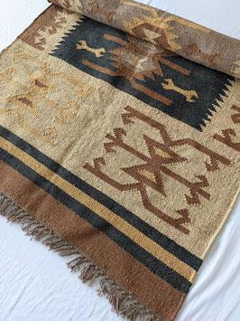 Teppich Kelim Azteken Muster Gewebt Wolle & Jute
