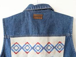 Jeans Weste Back Patch Azteken Pattern USA (M-L)