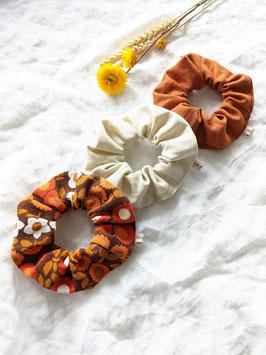 Scrunchie Set Upcycling Vintage • 70s Blumen & Leinen