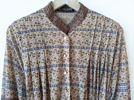 *Louis Féraud* Kleid Highfashion Designer Bohemian Muster 80s (L)