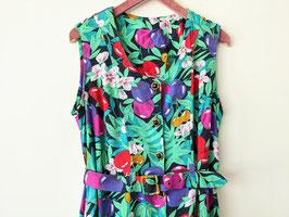 Kleid Jungle Print Monstera Kirschen Muster Sommer 80s inkl Gürtel (L)
