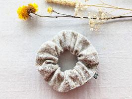 *Wolle* Scrunchie Haargummi Beige Braun Streifen Grobe Struktur Basic XL-Volumen