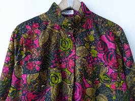 Bluse 80s Print Rot Khaki Rosen Muster Made in West-Germany (L)